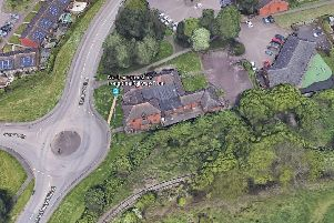 The Ironstone pub from above