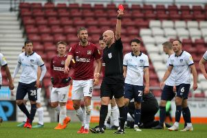Charles Breakspear sent off Sam Foley when he last took charge of the Cobblers in a league game
