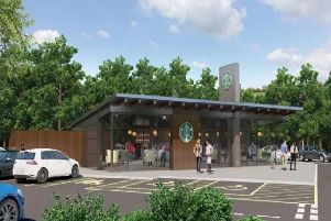 An artist's impression of how the Starbucks drive-thru will look