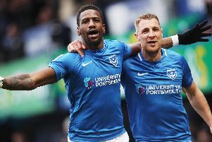 Omar Bogle celebrates his goal against Scunthorpe with Lee Brown. Picture: Joe Pepler