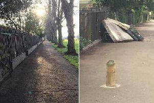 The same spot in Northampton, less than 24 hours apart.