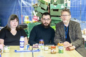 From l-r: Weston Favell Centre Food Bank manager Jo Alderman, rector of Emmanuel Church Haydon Spencely and CEO of Northampton Hope Centre Robin Burgess pictured appealing for food donations for their services to feed some of the town's poorest residents.