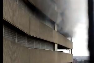 Smoke was seen billowing out of the Grosvenor's Centre car park.