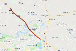 The M1 northbound is congested between Newport Pagnell Services and junction 15