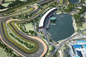 An impression of the proposed 30 million Lake Torrent motorsport complex.