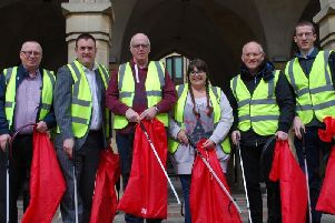 From left, Veolia's Keith Powell, cabinet member for environment Mike Hallam, Ecton Brook Street Champions Sally and Danny Jordan, Terry Richards of Duston and Richard Mallinson of East Hunsbury.