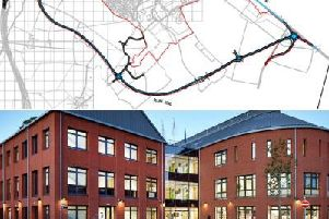 The Towcester relief road (top) was discussed by councillors at The Forum in Towcester (bottom)