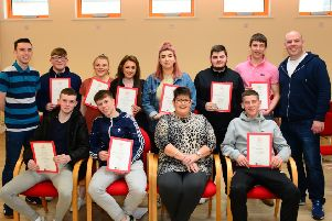 L to R back row; Conor Hassan (Assistant Team Leader), Andrew Barr, Chelsea Harley, Shania Watson, Blathnaid Kenny, Paul Leech, Ethan Quigley, Sean Curran (Team Leader). 'L to R sitting; Jack Armstrong, Tiarnan Murray, Karen Moore (Head of Dept, Training and Skills), Evan McLaughlin.