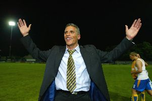 Keith Curle enjoys Mansfield Town's play-off semi-final win over the Cobblers in 2004