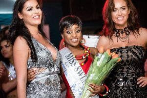 From left, pageant boss Poppy Haskell, model Yollanda Musa, and Miss Swimsuit UK founder Verena Twigg. Credit: Ian Trayner