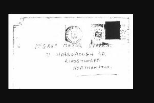 A photocopy of the envelope the letter was sent in