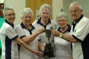 Ladies Fours champions Jan Mitchell, Janet Arkell, Carol Ryan & Jane Redfern with competition secretary John Kilsby