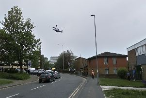 An air ambulance was seen leaving the road at around 3.45pm.