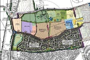 The masterplan for Buckton Fields, with land allocated for a primary school marked in yellow at the far right