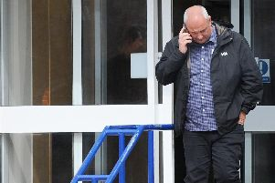Simon Ryan, 48, leaving Portsmouth Magistrates Court after pleading guilty to fraud.'Picture: (180419-5324)