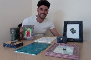 Anthony Carr from Mixed Emulsions with examples of the decorating skills people will learn on his expressions course