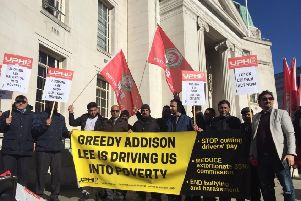 Addison Lee taxi drivers protest in February