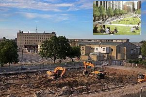 Greyfriars could be transformed into a linear park with large apartment blocks either side, if Northampton Forward's vision for the town is realised.