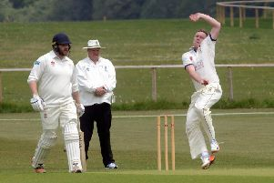 John Morgan bowling for Hastings Priory during their victory away to Chichester Priory Park. Picture by Kate Shemilt