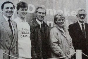 The Cancer Research Campaign float which was built by North East Training Services for the Lord Mayor's Show. Included are representatives of Cancer Research and NETS Joinery. 1991.