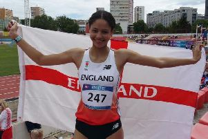 Emily Williams celebrates winning world 800m gold