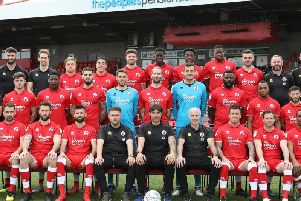 Crawley Town team photo March 2019. Picture courtesy of James Boardman/ Telephoto Images