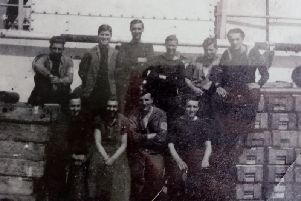 The crew of HMS LCT 574 shortly before the operations. Mark is second from the left on the back row - Don is on the furthest right.