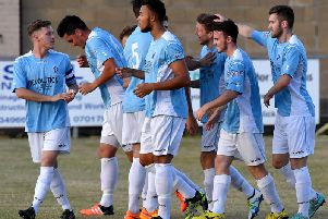 Rugby Town players celebrating David Kolodynski's goal against a Coventry City side on their last visit to Butlin Road back in 2016   (Picture by Martin Pulley)