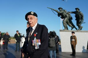 Patrick Moore from Kent, a veteran of the Royal Engineers, ahead of the Inauguration of the British Normandy Memorial site in Ver-sur-Mer, France, on the 75th anniversary of the D-Day landings. Picture: Owen Humphreys/PA Wire