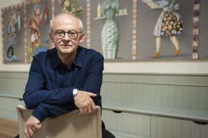Artist John Kindness at a private viewing of an exhibition of his work in the Clore Learning Centre, Hillsborough Castle.