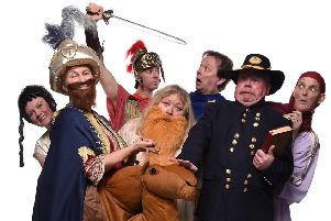 The cast of seven for Ben Hur, from left, Louise Yeo, Sharon Churchill, Giles Newlyn-Bowmer, Amy Bowyer, Jon Terry, Tim Ingram and H Reeves