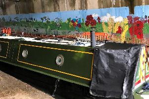 Rothersthorpe Primary School's mural in the canal tunnel. Photo: Nicola Fountain