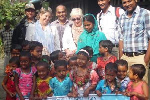 Gaynor Humphrey and Elizabeth Cochrane from Best Years at the opening of the third pre-school the Daventry firm has helped to open in Bangladesh