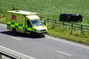 The A27 near Angmering has been partially closed after a car crashed into a field