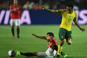 Percy Tau in action for South Africa against Egypt (getty)