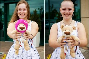 Florence before and after her head shave. Photo by David Fawbert Photography