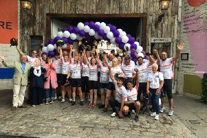 The Jo Cox Way cyclists celebrate their arrival at South Bank at the end of the 2018 ride. Photo: Jo Cox Way