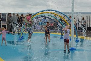 Youngsters enjoying the opening of the Lee-on-the-Solent splash park. Picture: David George