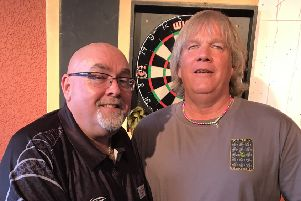 BDO and PDC pro Tony O'Shea took on local players at the SeaviewPub Skegness this weekend. He is pictured with Rob Pomeroy.