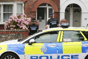 Police at the scene of the incident in Heene Road, Worthing. Picture: Eddie Mitchell