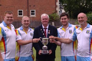County Fours champions, Rugby's Tom Millership, Craig Carter, Liam Pearcey and Brian Boardman
