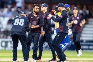 The Steelbacks celebrated a 21-run win against Durham (pictures: Kirsty Edmonds)