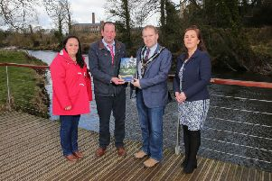 At the launch of the Riverside Trail Scheme in 2018 are Patricia Sands, Vice Chair of Gilford Forum; Chairman of the SOAR LAG, Cllr Gordon Kennedy; the then Lord Mayor Alderman Gareth Wilson and Elaine Cullen (Rural Programme Manager) Picture: Philip Magowan