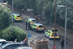 Four squad cars have been spotted outside Northampton General Hospital.