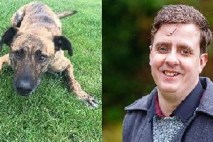 Lewes councillor Sean MacLeod and his dog, Hara