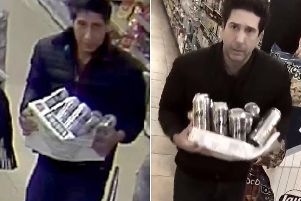 Abdulah Husseini in Blackpool (left) bearing a resemblance to Friends star Schwimmer, who posted a parody video of himself (right) in a New York store. Picture: Blackpool Police/@DavidSchwimmer/PA Wire