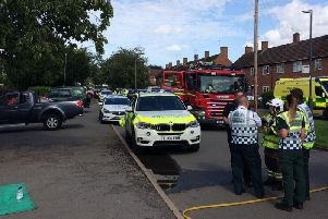 Incident on Oaks Road in Kenilworth (photo by Warwickshire Fire and Rescue Service)