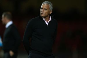 Keith Curle watches on at the County Ground. Picture: Pete Norton