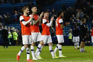 Luton's players applaud their visiting fans after Tuesday night's 1-0 defeat at Sheffield Wednesday