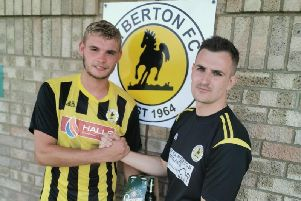 Man of the match Bailey Forth with manager Greswell.